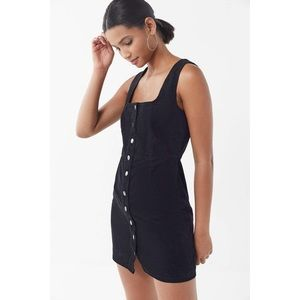 Urban Outfitters Black Corduroy Button Mini Dress